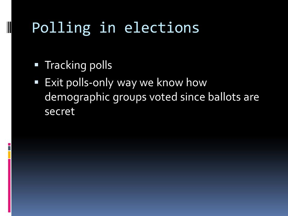 Polling in elections Tracking polls Exit polls-only way we know how demographic groups voted since ballots are secret