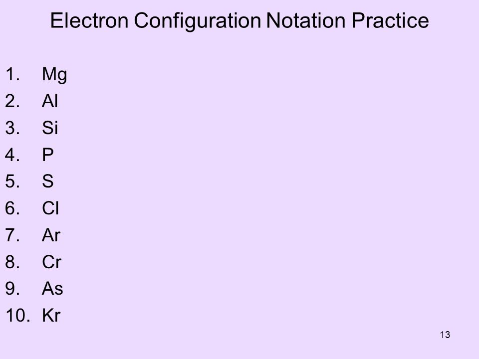 Electron Configuration Notation Practice 1.Mg 2. Al 3.