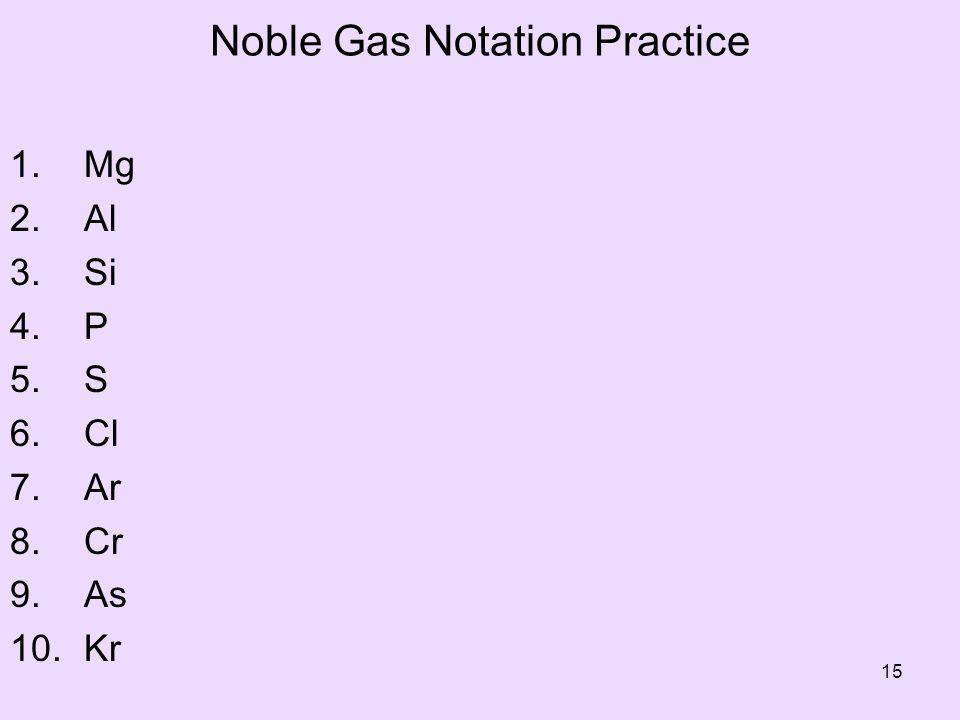 Noble Gas Notation Practice 1. Mg 2. Al 3. Si 4. P 5. S 6. Cl 7. Ar 8. Cr 9. As 10. Kr 15