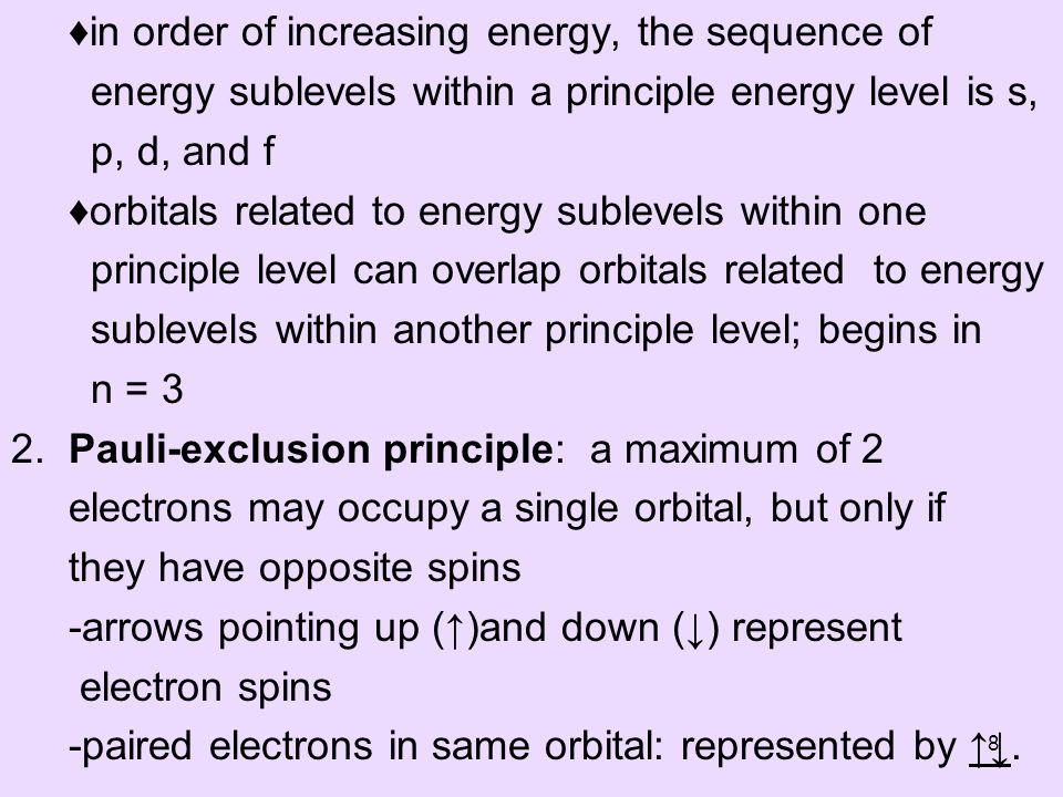 in order of increasing energy, the sequence of energy sublevels within a principle energy level is s, p, d, and f orbitals related to energy sublevels