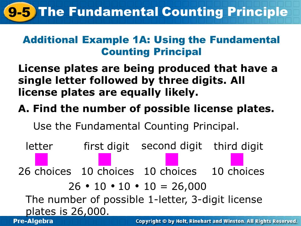 Pre-Algebra 9-5 The Fundamental Counting Principle License plates are being produced that have a single letter followed by three digits. All license p