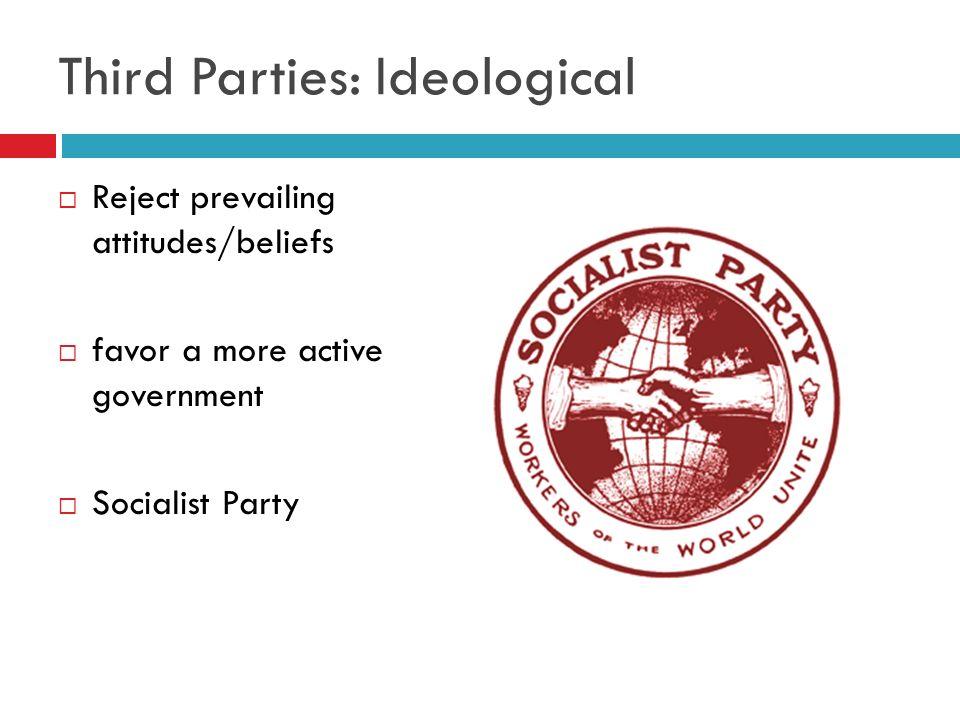 Third Parties: Ideological Reject prevailing attitudes/beliefs favor a more active government Socialist Party
