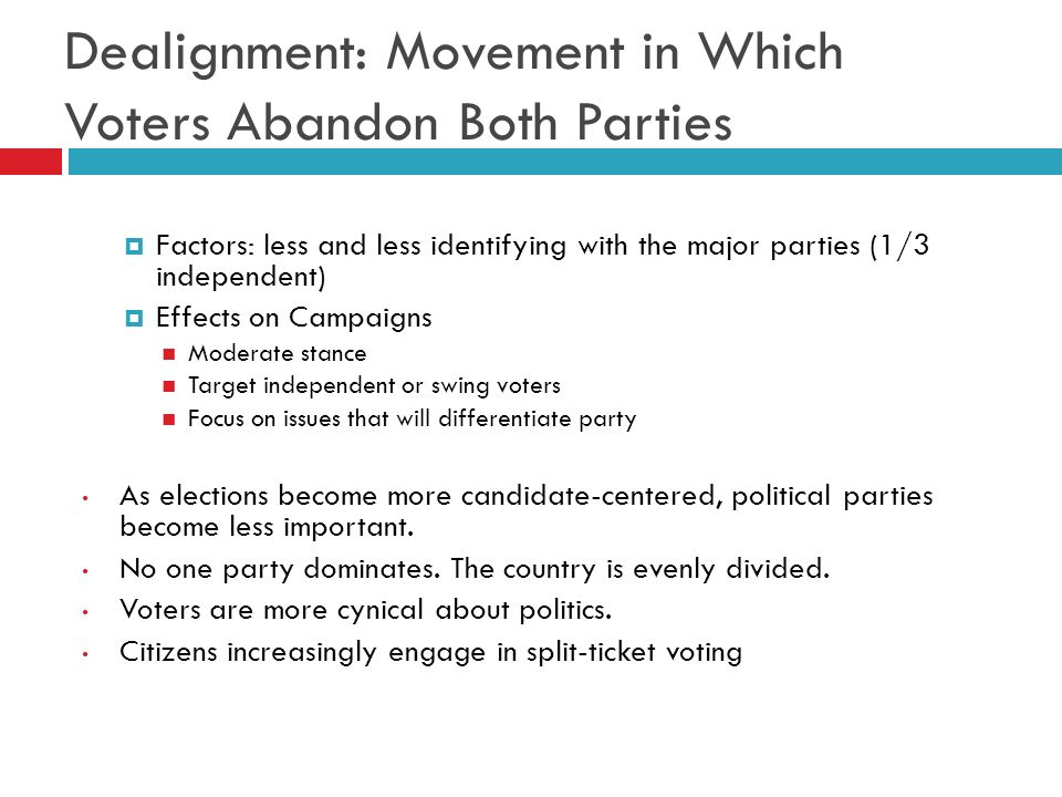 Dealignment: Movement in Which Voters Abandon Both Parties Factors: less and less identifying with the major parties (1/3 independent) Effects on Camp