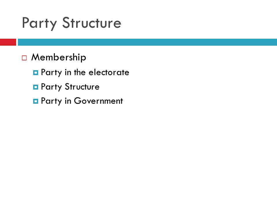 Party Structure Membership Party in the electorate Party Structure Party in Government