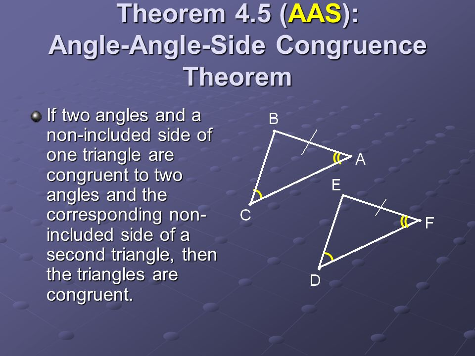 Theorem 4.5 (AAS): Angle-Angle-Side Congruence Theorem If two angles and a non-included side of one triangle are congruent to two angles and the corre