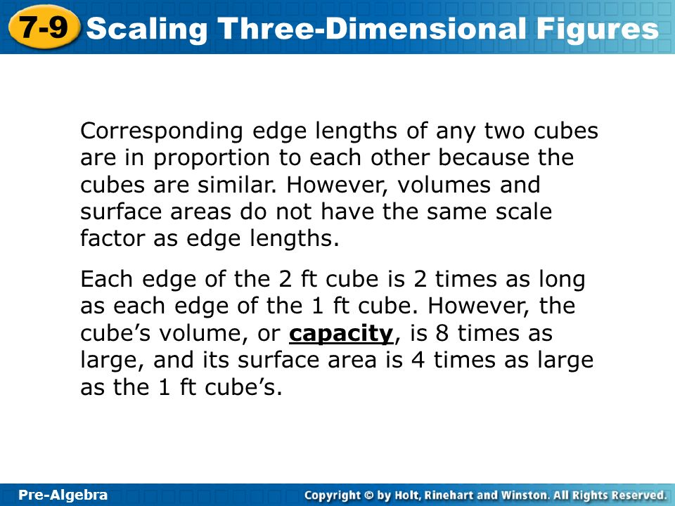 Pre-Algebra 7-9 Scaling Three-Dimensional Figures Corresponding edge lengths of any two cubes are in proportion to each other because the cubes are si