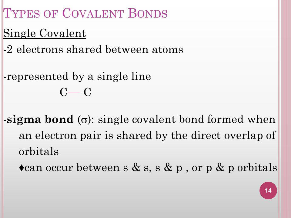 T YPES OF C OVALENT B ONDS Single Covalent -2 electrons shared between atoms -represented by a single line C C - sigma bond ( ): single covalent bond formed when an electron pair is shared by the direct overlap of orbitals can occur between s & s, s & p, or p & p orbitals 14