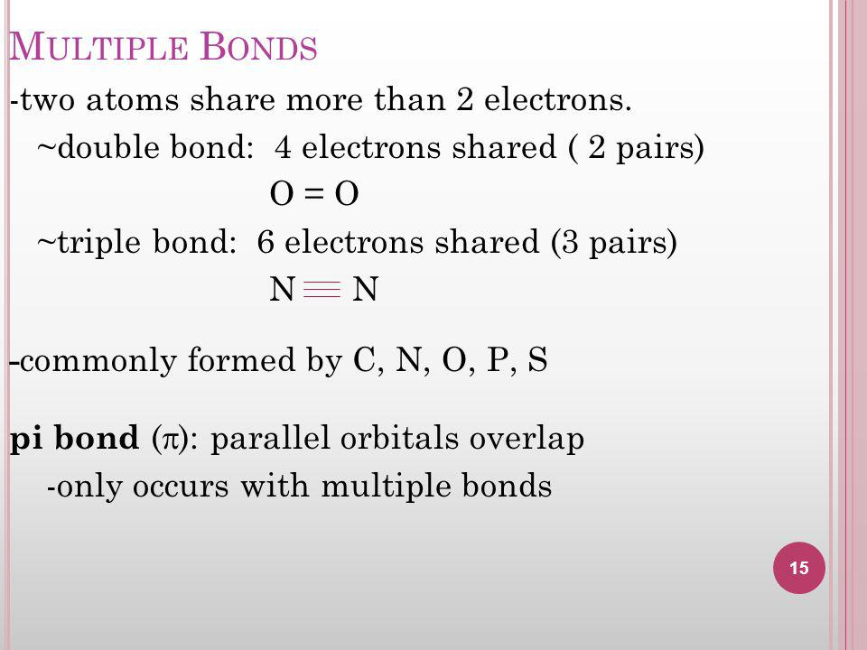 M ULTIPLE B ONDS -two atoms share more than 2 electrons.