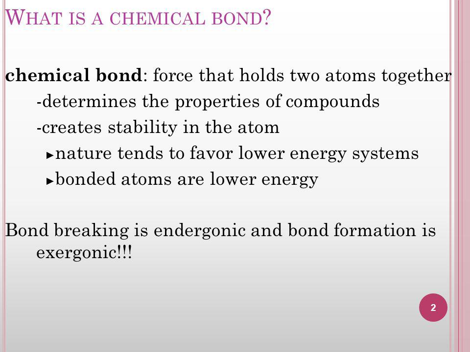 W HAT IS A CHEMICAL BOND .