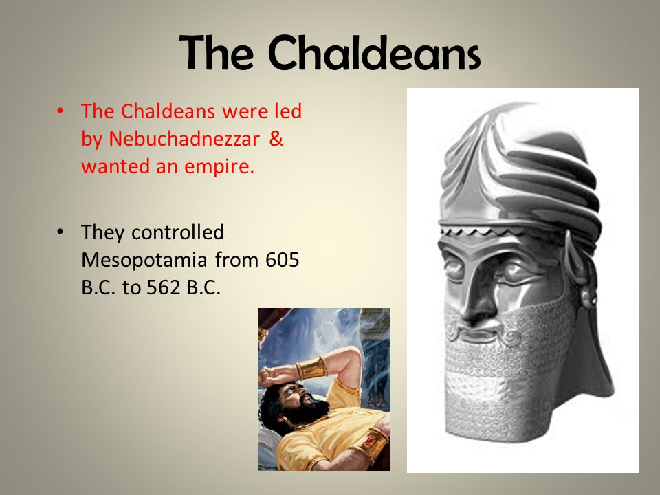 The Chaldeans The Chaldeans were led by Nebuchadnezzar & wanted an empire. They controlled Mesopotamia from 605 B.C. to 562 B.C.