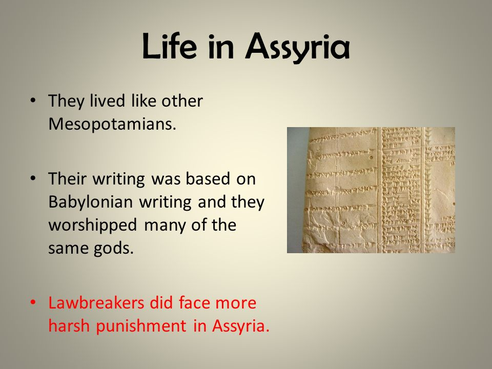 Life in Assyria They lived like other Mesopotamians. Their writing was based on Babylonian writing and they worshipped many of the same gods. Lawbreak