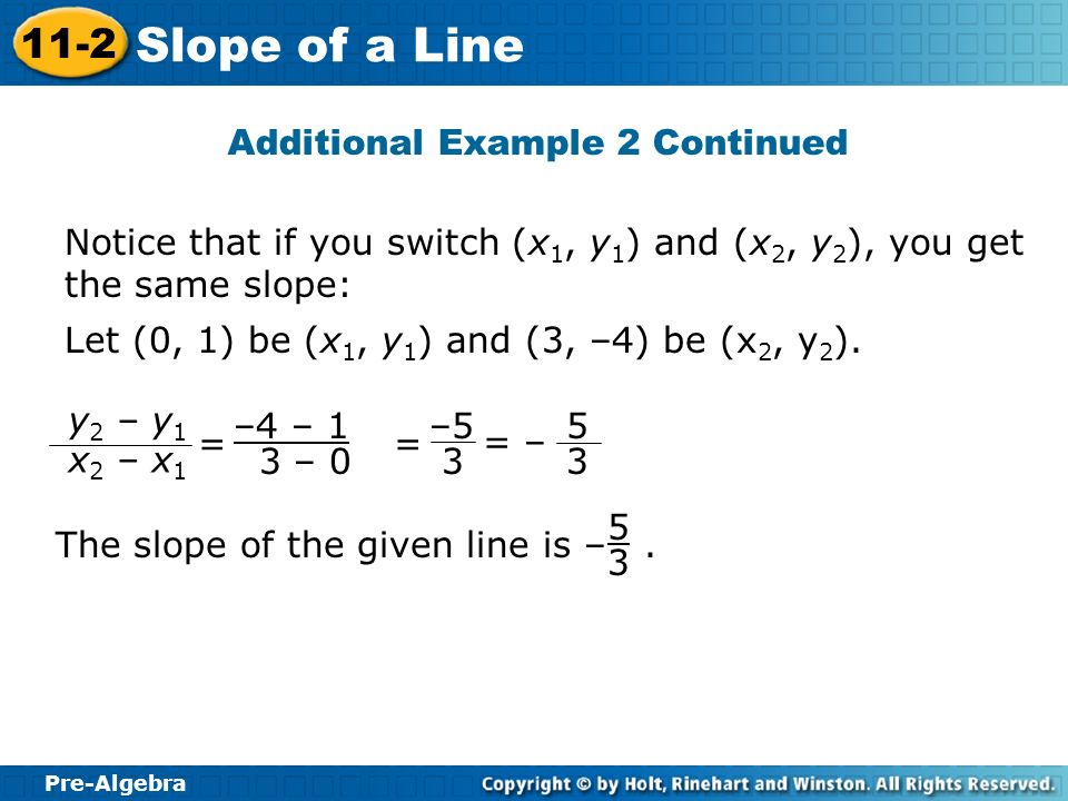 Pre-Algebra 11-2 Slope of a Line Notice that if you switch (x 1, y 1 ) and (x 2, y 2 ), you get the same slope: 5 3 The slope of the given line is –.