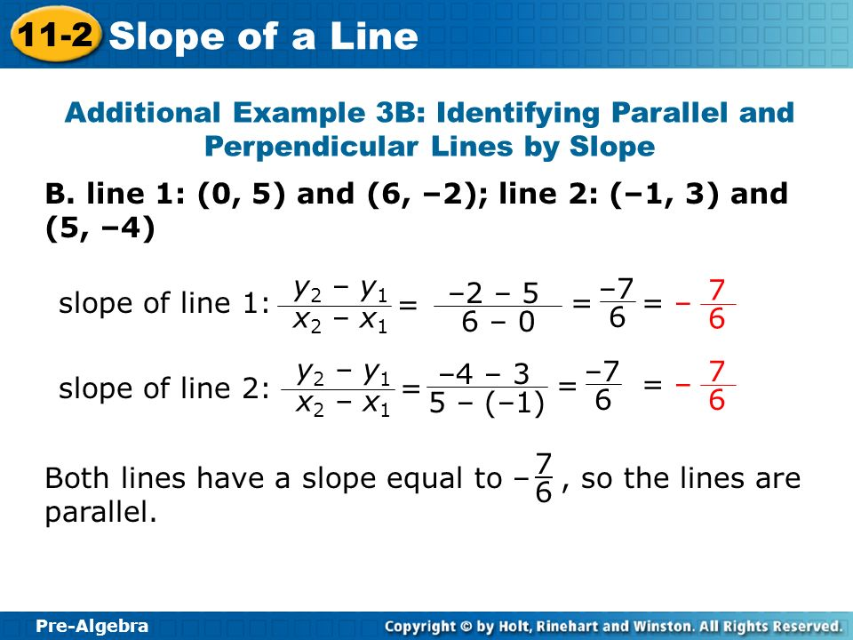 Pre-Algebra 11-2 Slope of a Line Additional Example 3B: Identifying Parallel and Perpendicular Lines by Slope B. line 1: (0, 5) and (6, –2); line 2: (