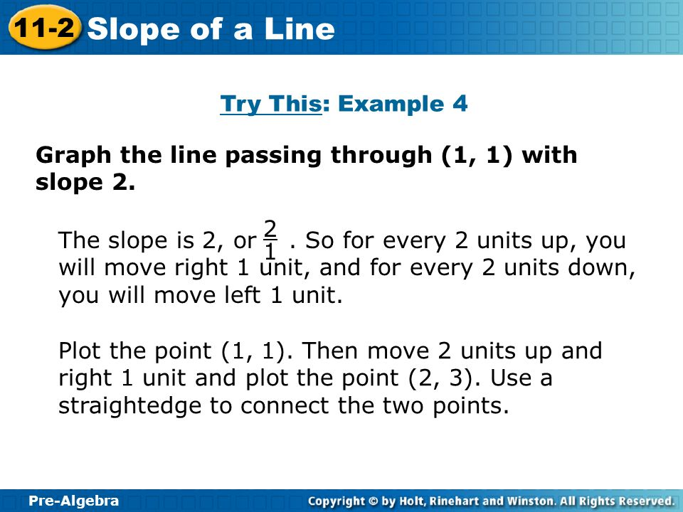 Pre-Algebra 11-2 Slope of a Line Try This: Example 4 Graph the line passing through (1, 1) with slope 2. Plot the point (1, 1). Then move 2 units up a