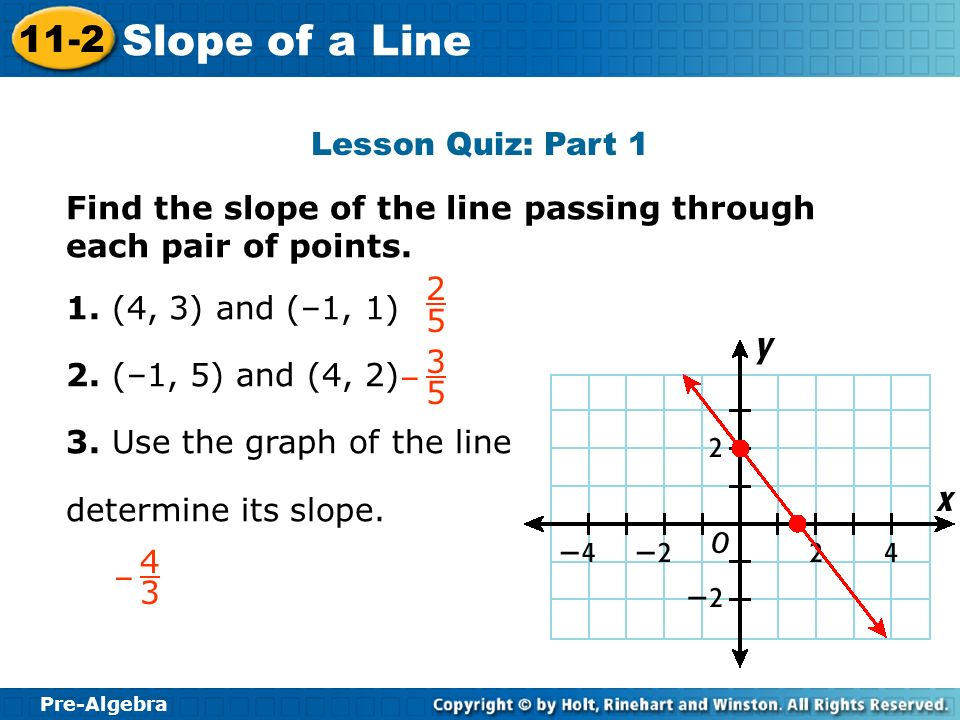 Pre-Algebra 11-2 Slope of a Line Lesson Quiz: Part 1 Find the slope of the line passing through each pair of points. 1. (4, 3) and (–1, 1) 2. (–1, 5)