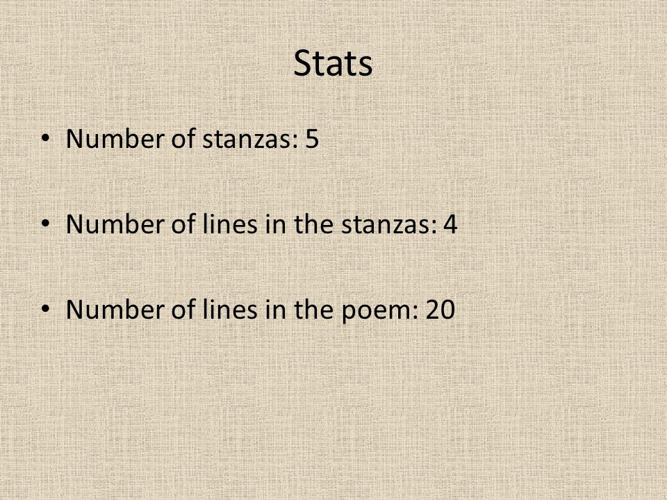 Stats Number of stanzas: 5 Number of lines in the stanzas: 4 Number of lines in the poem: 20