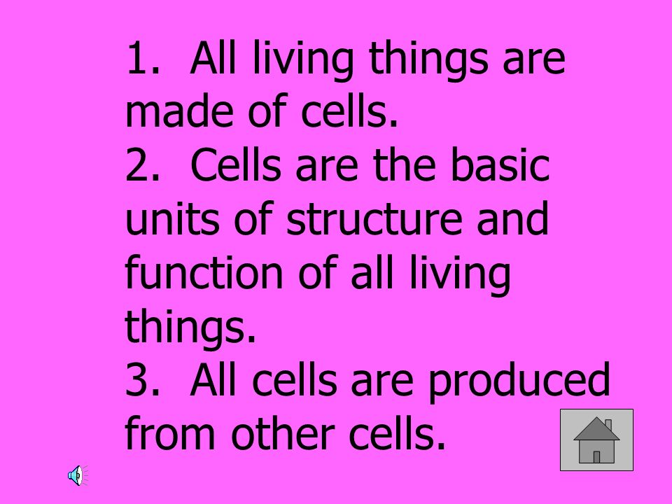 1. All living things are made of cells. 2. Cells are the basic units of structure and function of all living things. 3. All cells are produced from ot