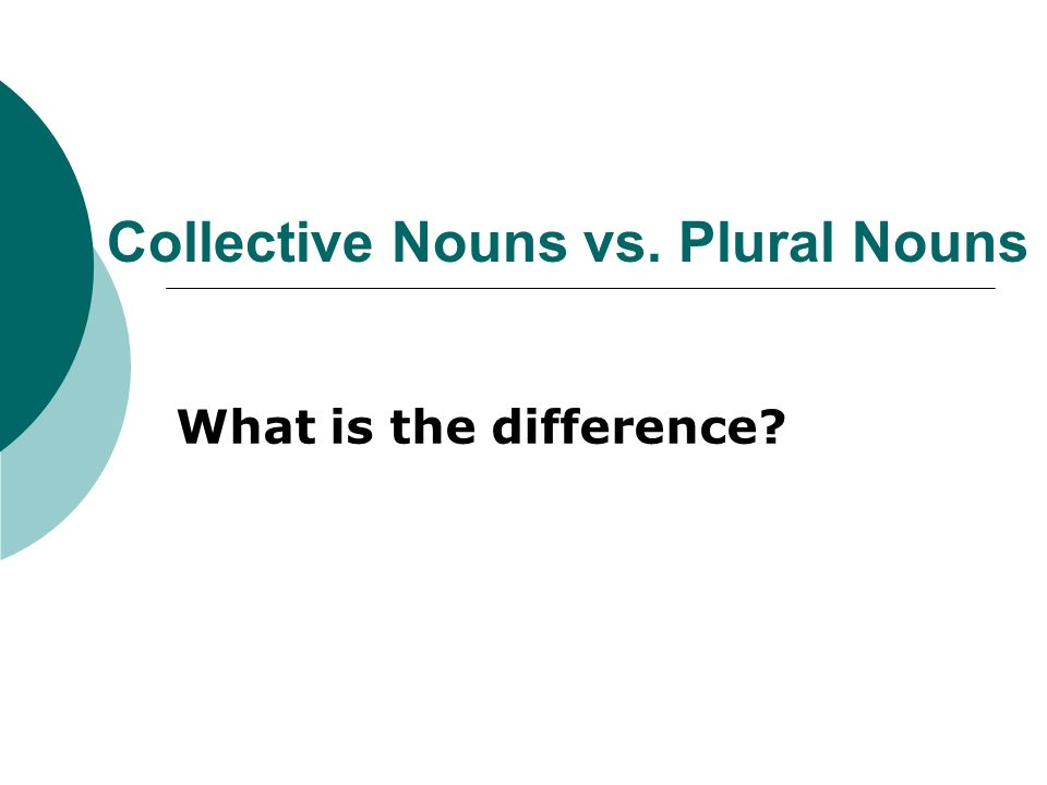 Collective Nouns vs. Plural Nouns What is the difference?