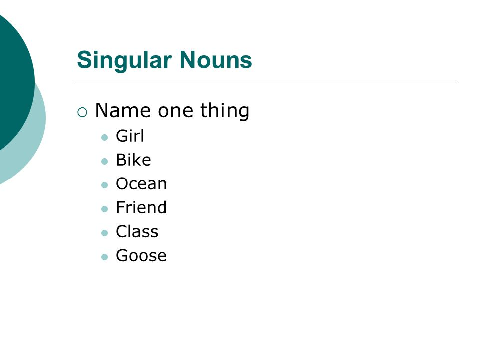 Singular Nouns Name one thing Girl Bike Ocean Friend Class Goose