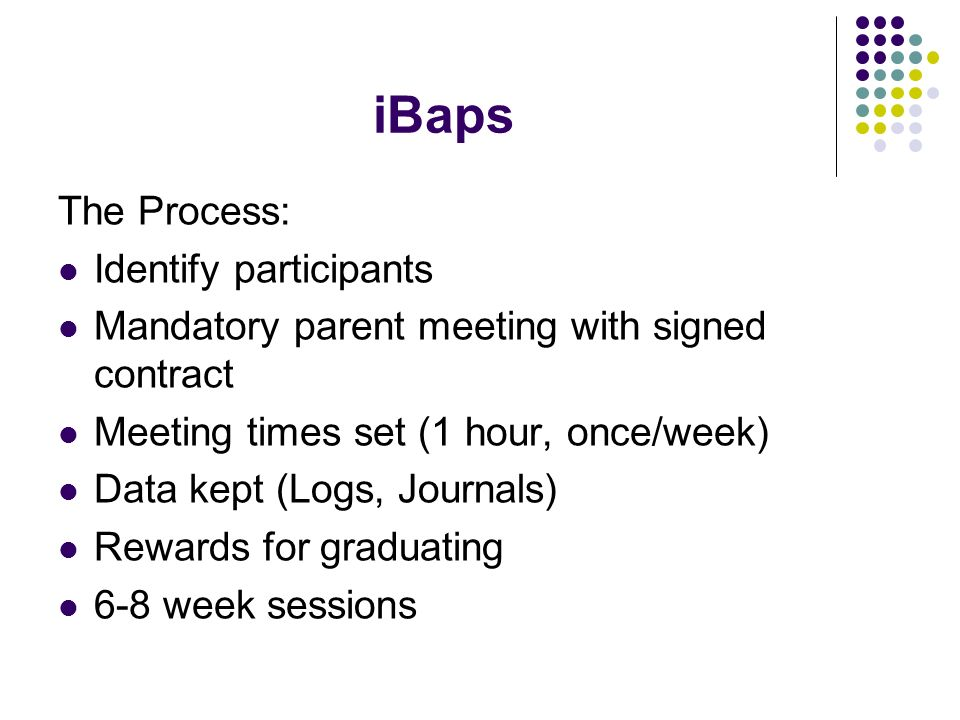 iBaps The Process: Identify participants Mandatory parent meeting with signed contract Meeting times set (1 hour, once/week) Data kept (Logs, Journals) Rewards for graduating 6-8 week sessions