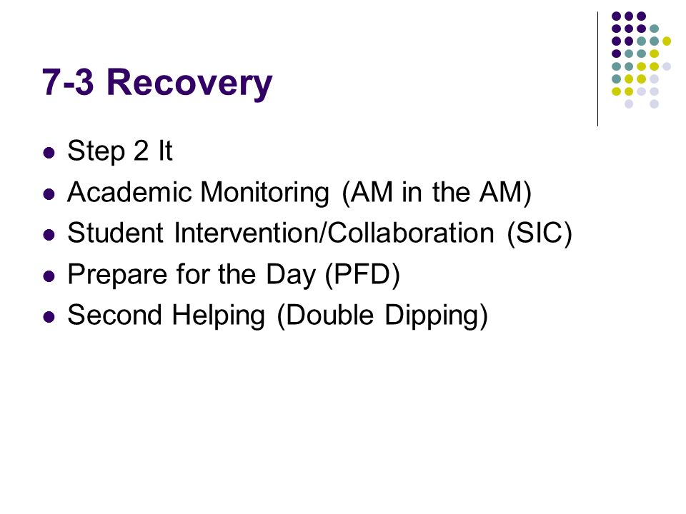 7-3 Recovery Step 2 It Academic Monitoring (AM in the AM) Student Intervention/Collaboration (SIC) Prepare for the Day (PFD) Second Helping (Double Dipping)
