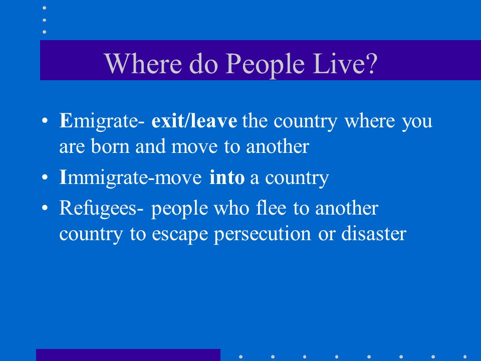 Where do People Live? Emigrate- exit/leave the country where you are born and move to another Immigrate-move into a country Refugees- people who flee