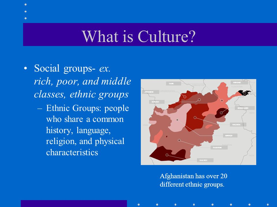 What is Culture? Social groups- ex. rich, poor, and middle classes, ethnic groups –Ethnic Groups: people who share a common history, language, religio