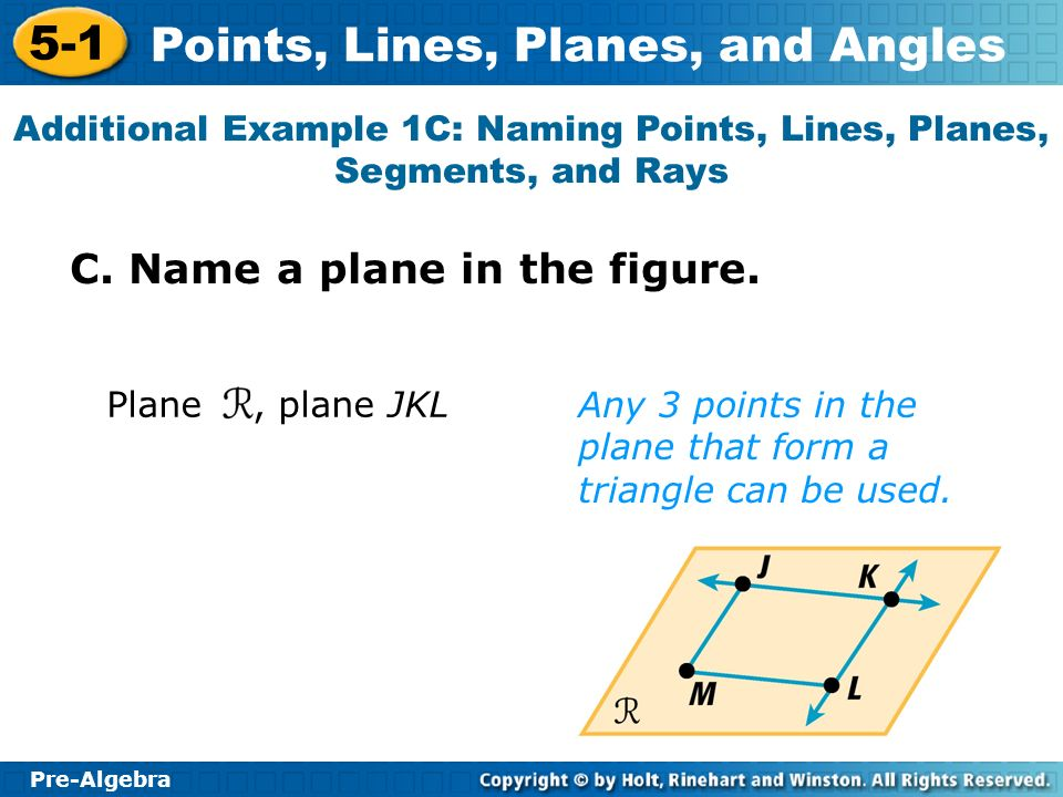 Pre-Algebra 5-1 Points, Lines, Planes, and Angles Additional Example 1C: Naming Points, Lines, Planes, Segments, and Rays C.