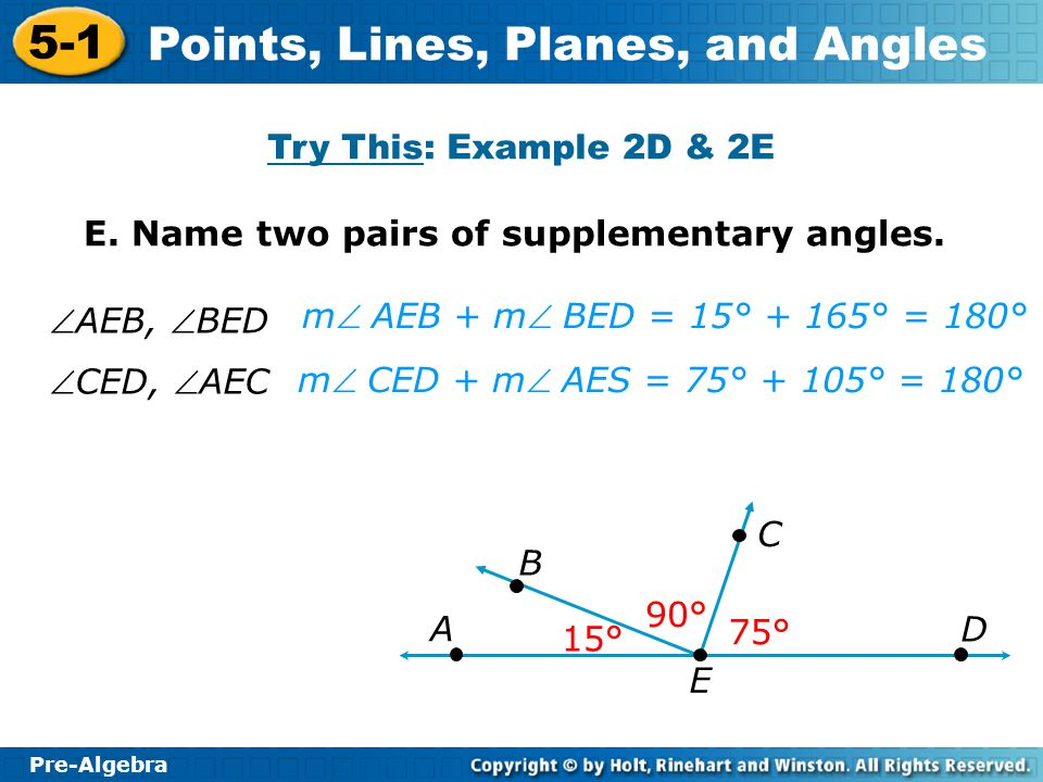 Pre-Algebra 5-1 Points, Lines, Planes, and Angles E.