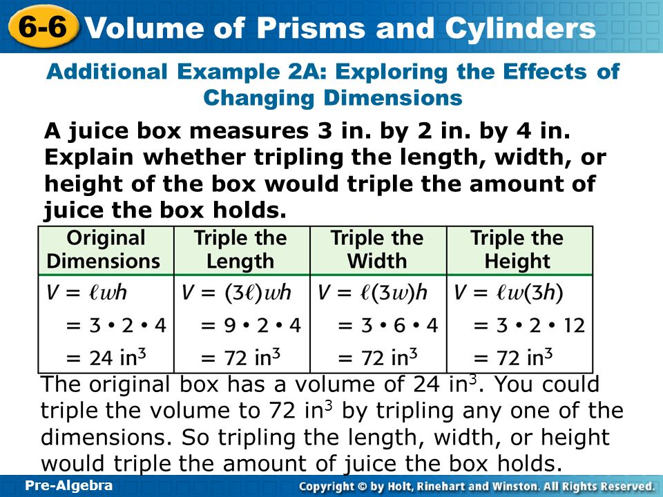 Pre-Algebra 6-6 Volume of Prisms and Cylinders A juice box measures 3 in. by 2 in. by 4 in. Explain whether tripling the length, width, or height of t