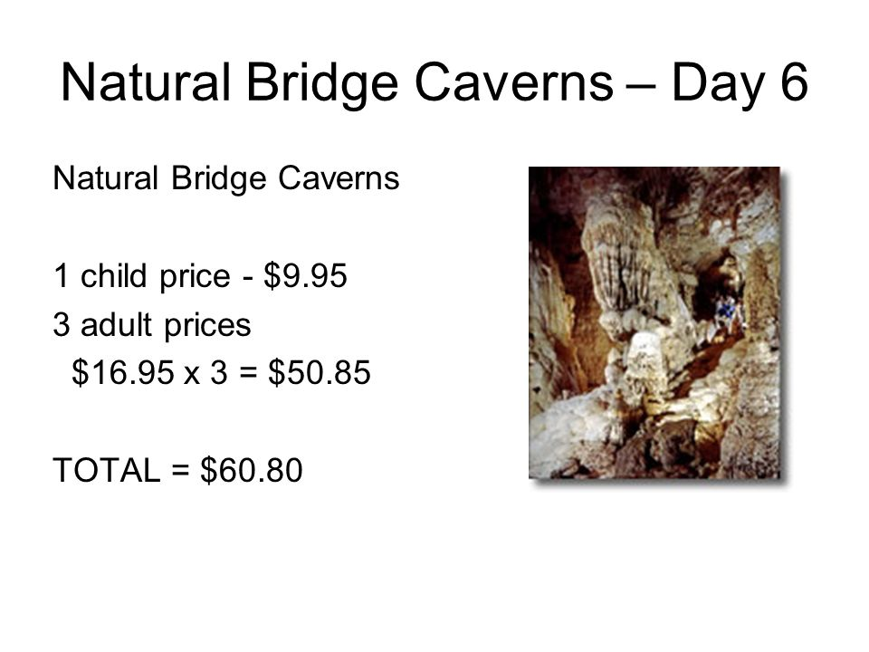Natural Bridge Caverns – Day 6 Natural Bridge Caverns 1 child price - $9.95 3 adult prices $16.95 x 3 = $50.85 TOTAL = $60.80