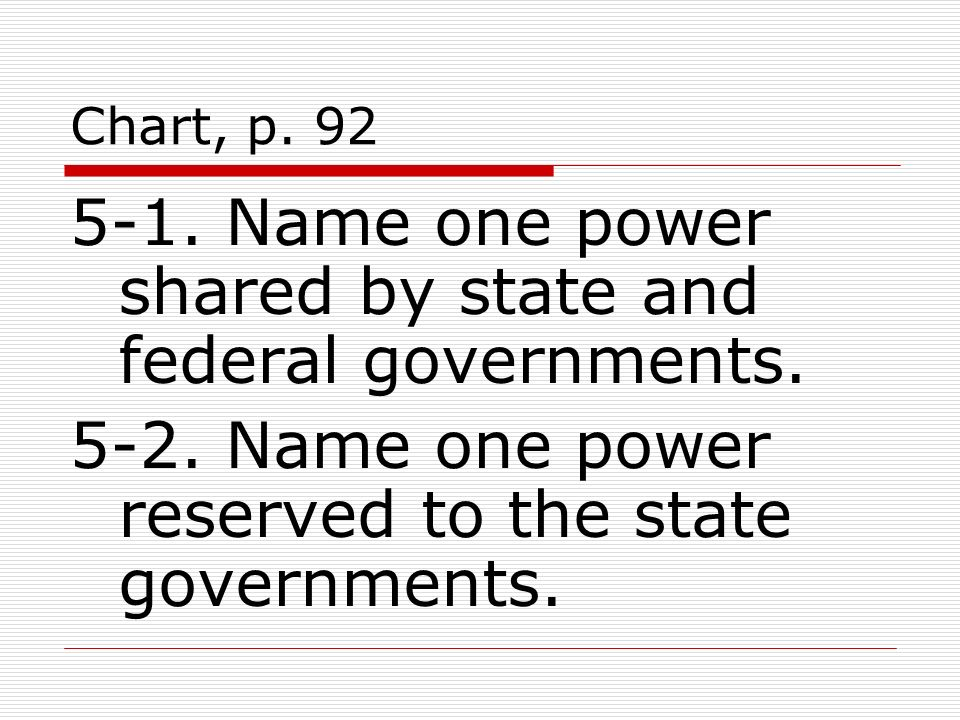 Chart, p. 92 5-1. Name one power shared by state and federal governments.