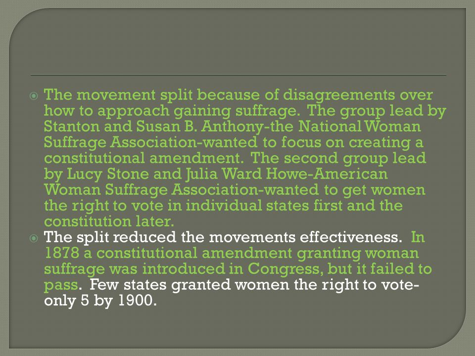 The movement split because of disagreements over how to approach gaining suffrage. The group lead by Stanton and Susan B. Anthony-the National Woman S