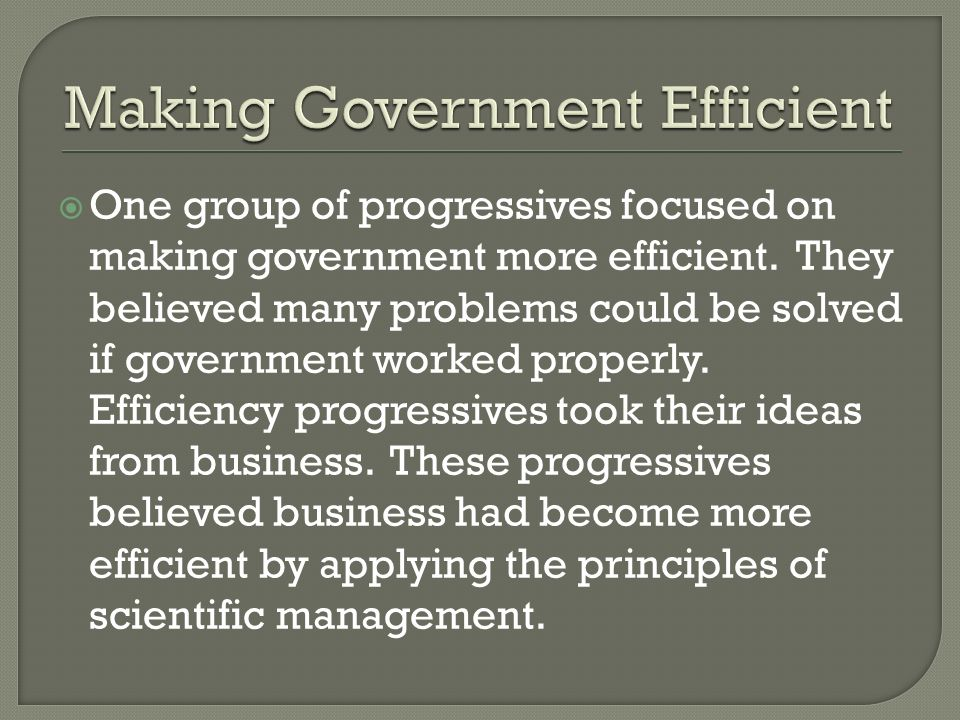 One group of progressives focused on making government more efficient. They believed many problems could be solved if government worked properly. Effi