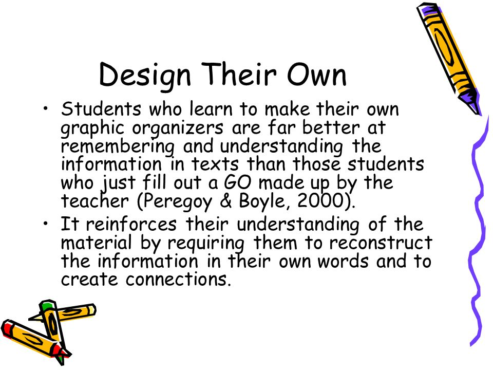 Design Their Own Students who learn to make their own graphic organizers are far better at remembering and understanding the information in texts than