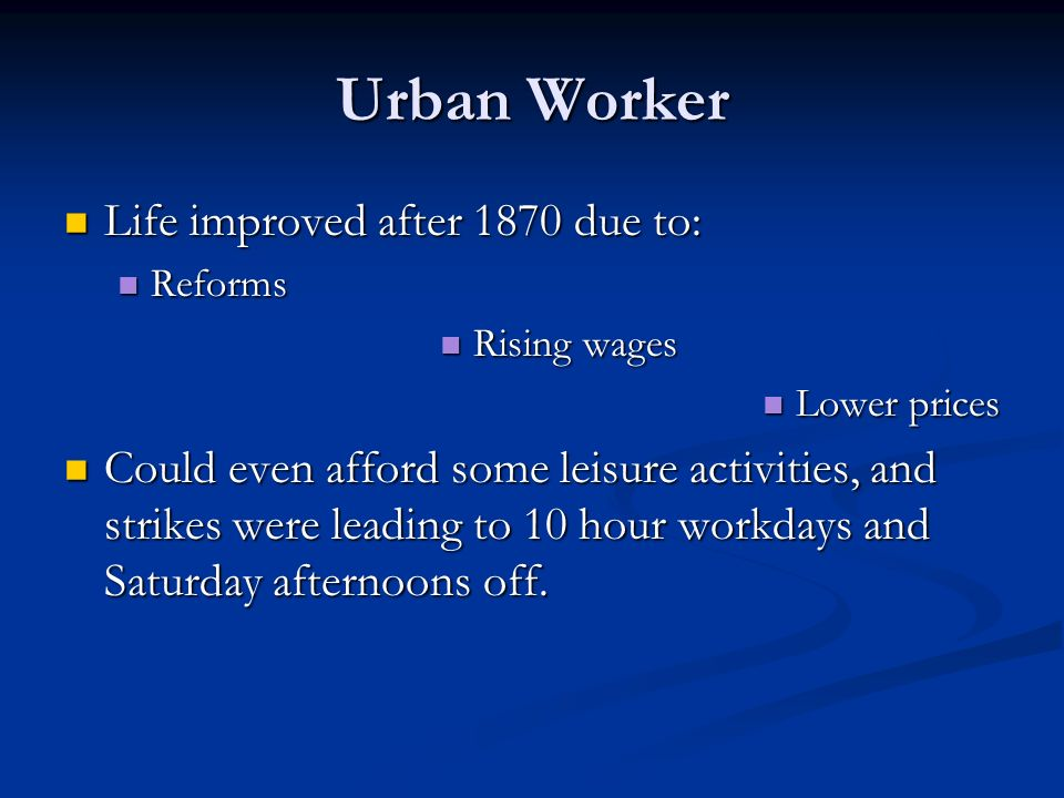 The Working Class Made up 80% of European population.