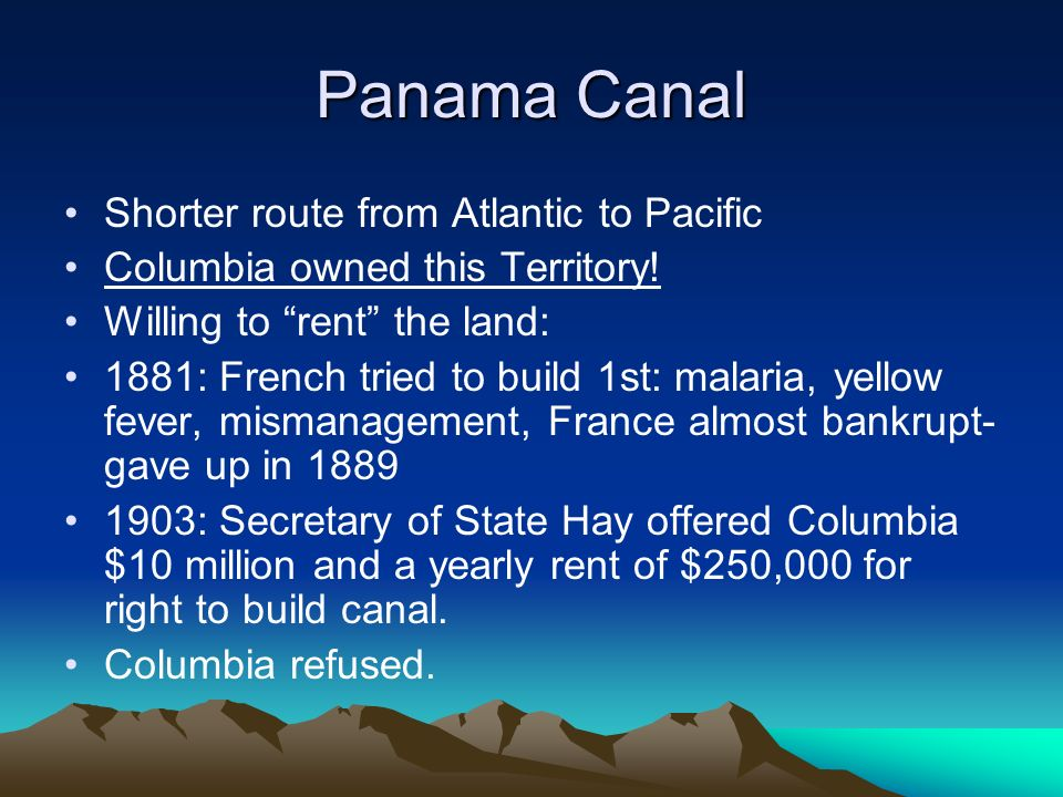 Panama Canal Shorter route from Atlantic to Pacific Columbia owned this Territory.