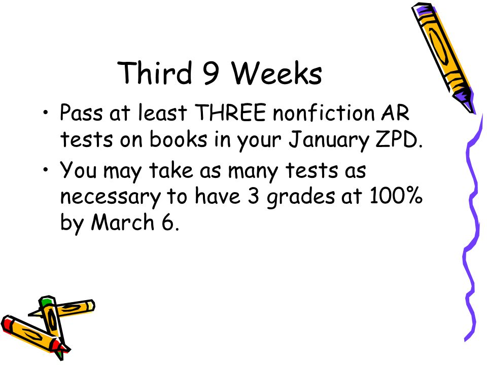 Third 9 Weeks Pass at least THREE nonfiction AR tests on books in your January ZPD.