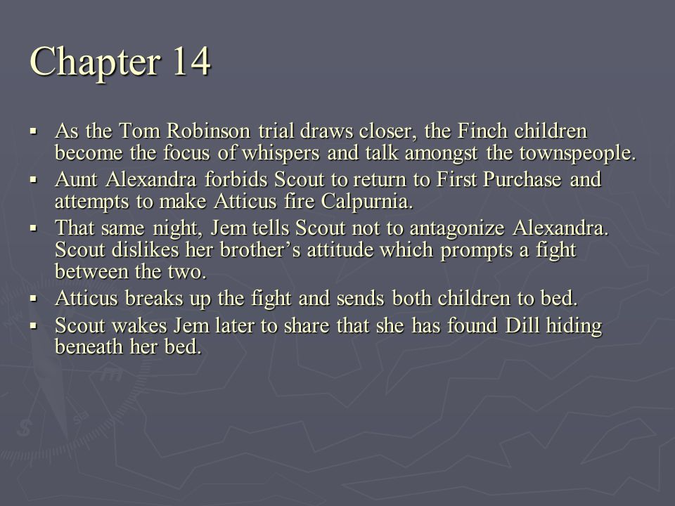 Chapter 14 As the Tom Robinson trial draws closer, the Finch children become the focus of whispers and talk amongst the townspeople. As the Tom Robins