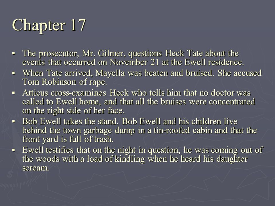 The prosecutor, Mr. Gilmer, questions Heck Tate about the events that occurred on November 21 at the Ewell residence. The prosecutor, Mr. Gilmer, ques