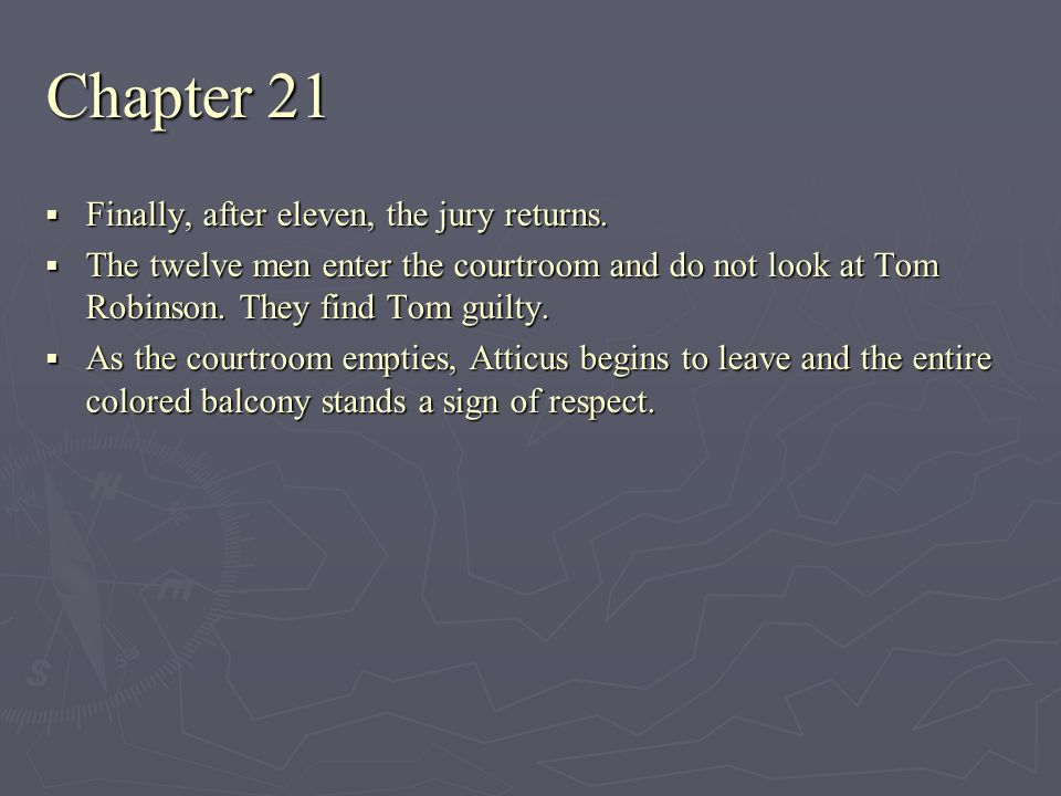 Chapter 21 Finally, after eleven, the jury returns. Finally, after eleven, the jury returns. The twelve men enter the courtroom and do not look at Tom