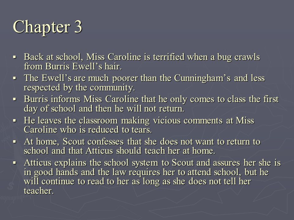 Chapter 3 Back at school, Miss Caroline is terrified when a bug crawls from Burris Ewells hair. Back at school, Miss Caroline is terrified when a bug