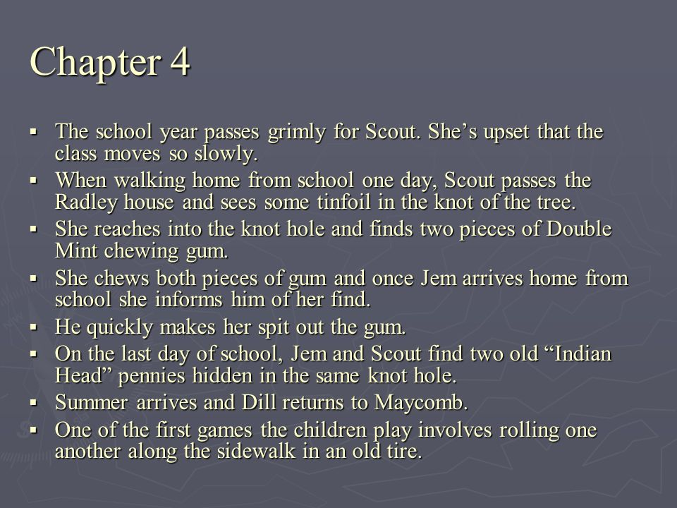 Chapter 4 The school year passes grimly for Scout. Shes upset that the class moves so slowly. The school year passes grimly for Scout. Shes upset that