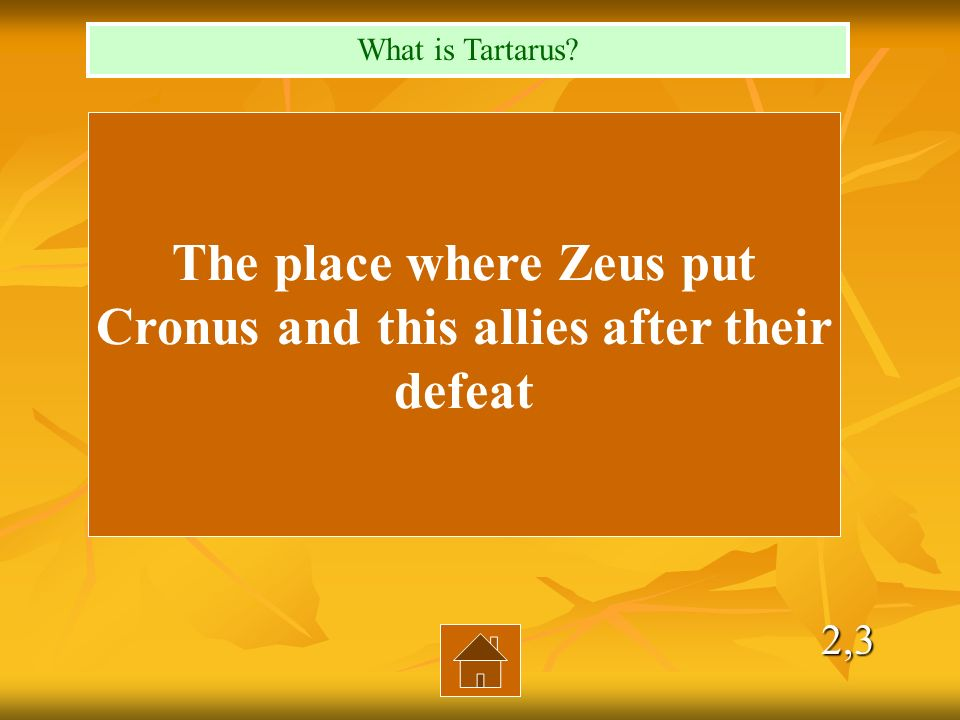 2,3 The place where Zeus put Cronus and this allies after their defeat What is Tartarus?