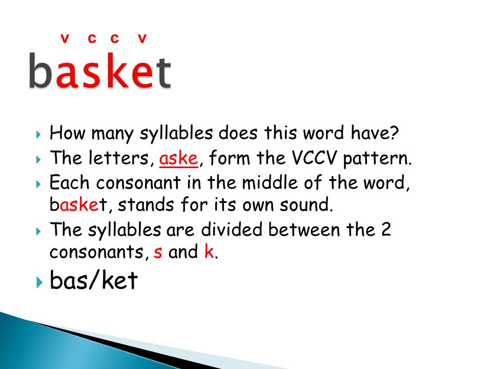 How many syllables does this word have? The letters, aske, form the VCCV pattern. Each consonant in the middle of the word, basket, stands for its own