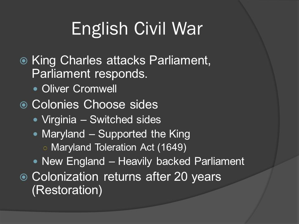 English Civil War King Charles attacks Parliament, Parliament responds. Oliver Cromwell Colonies Choose sides Virginia – Switched sides Maryland – Sup