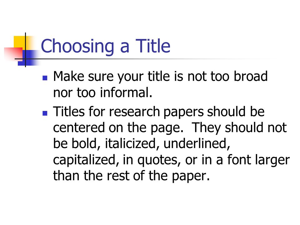title of research paper A reader browsing through paper titles in an online database should be able to quickly read your title and know exactly what your paper psychology research paper.