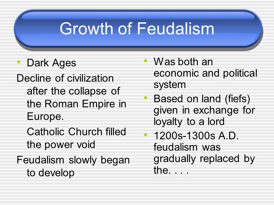 Growth of Feudalism Dark Ages Decline of civilization after the collapse of the Roman Empire in Europe.