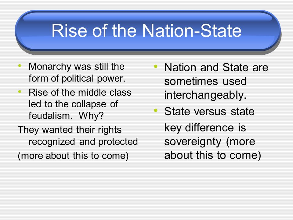 Rise of the Nation-State Monarchy was still the form of political power.