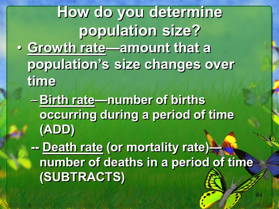64 How do you determine population size.